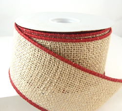 wired classy red edging burlap christmas ribbon - Burlap Christmas Ribbon