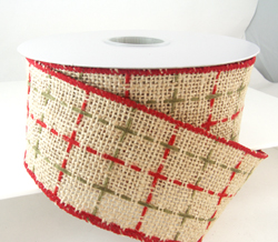 Natural color wired edged burlap ribbon with green and red threads