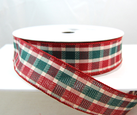 plaid christmas ribbon 1 12 25 yards