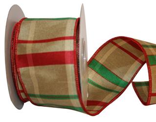 holiday plaid plus wired red tan and green dupioni plaid christmas ribbon 2 12 or 40 10 yards - Plaid Christmas Ribbon