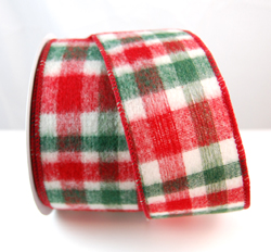 Wired Flannel Candy Cane Design Christmas Ribbon