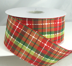 wired dark red and green plaid christmas ribbon 2 12 or 40 25 yards 95 polyester 5 acrylic - Wired Christmas Ribbon