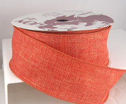 wired soft orange burlap poly ribbon